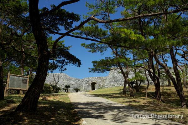 05-0023 最初に出会う城門 薄暗い松林の向こうに陽射しに照らされた城門がひと際輝く!