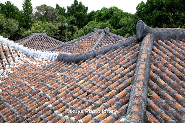 06f-0011 母屋に離れ座敷、台所の屋根が連なる。