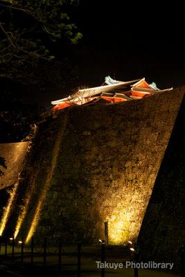 01-0042 ライトアップされた久慶門側の城壁