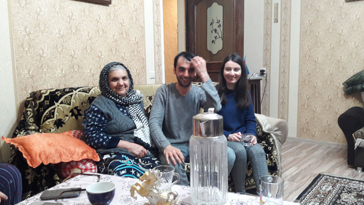 Alirza with his mum and girlfriend