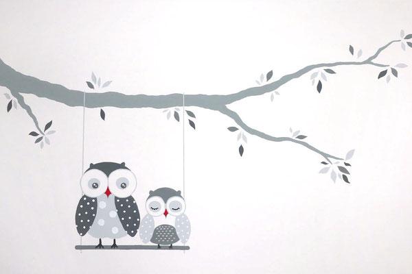 Lieflijke eenvoudige muurschildering uitljes voor op babykamer