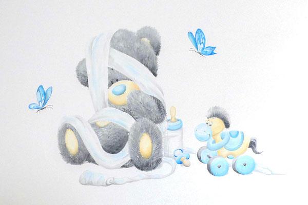 Muurschildering van beertje voor jongetje