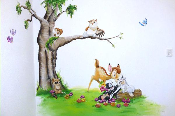 Muurschildering van Bambi voor op kinderkamer