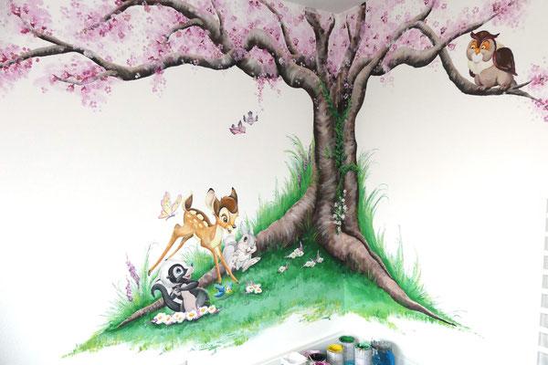 Bambi muurschildering voor kinderkamer