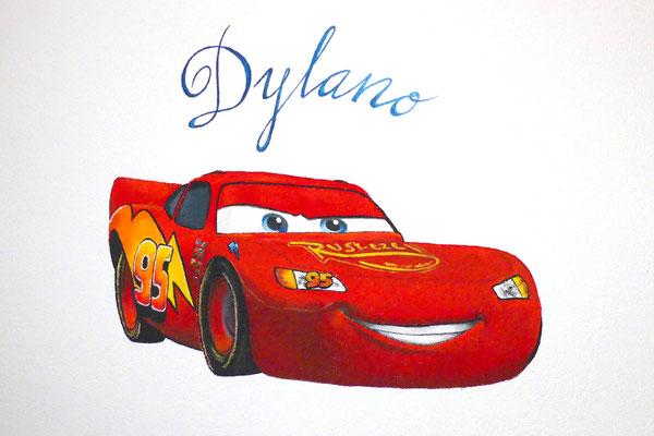 Muurschildering Cars voor op jongenskamer