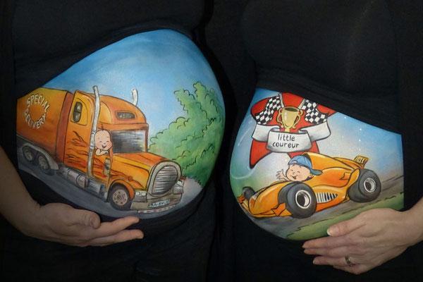 Stoere jongens bellypaint met vrachtwagen en raceauto