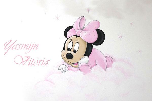 Meisjeskamer beschilderd met Minnie Mouse