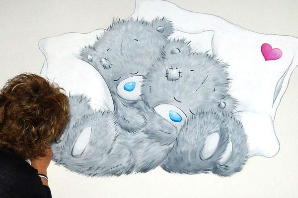 Muurschildering van Me to you beertjes