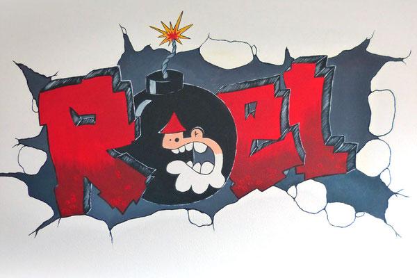 Grafiitti stijl muurschildering voor op stoere jongenskamer