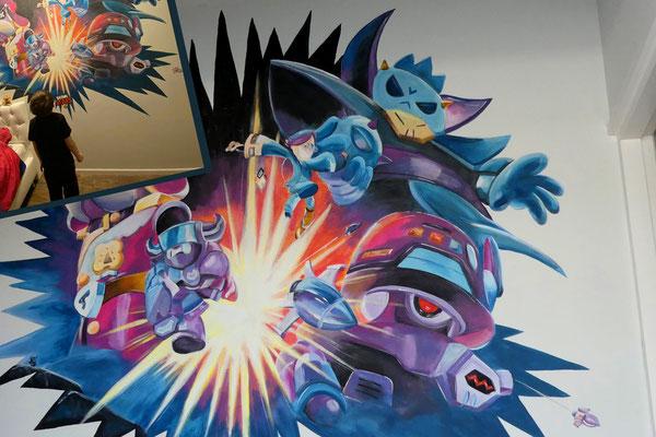 Stoere muurschildering op jongenskamer nav een spel