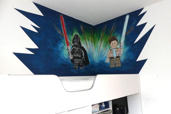 Lego Starwars Darth Vader muurschildering boven hoogslaper