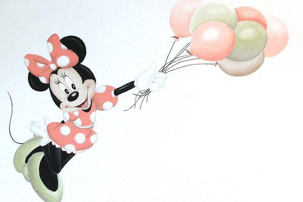 Muurschildering van Minnie op meisjeskamer