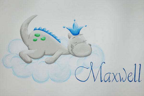 Draakje Dirk als muurschildering voor op een babykamer