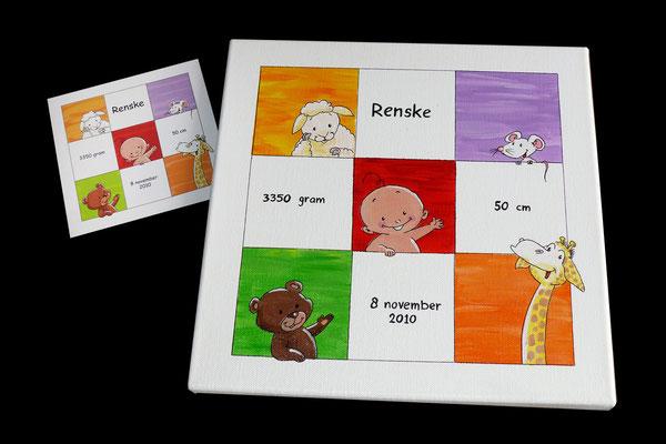 Canvasje beschilderd met geboortekaartje
