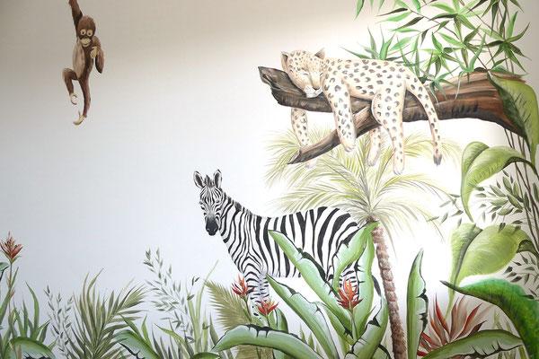 Jungle dieren zijn favoriet als muurschildering