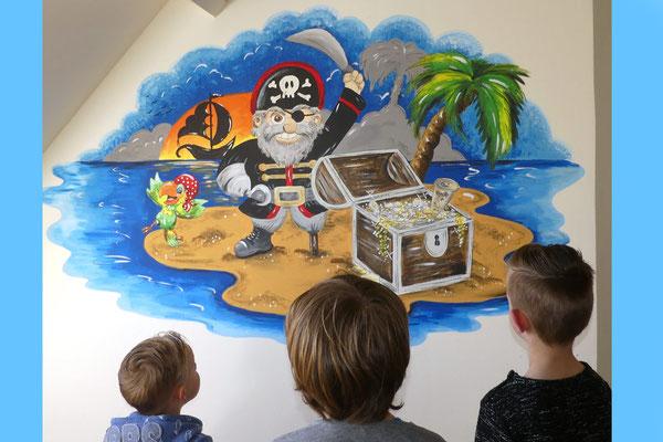 Piraten muurschildering voor op slaapkamer of speelkamer
