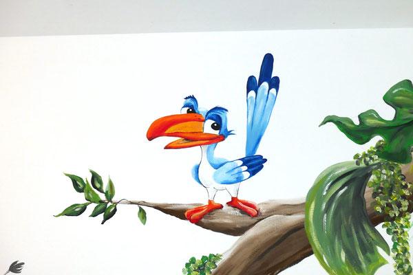 Muurschildering voor op kinderkamer met vogel uit Lion King