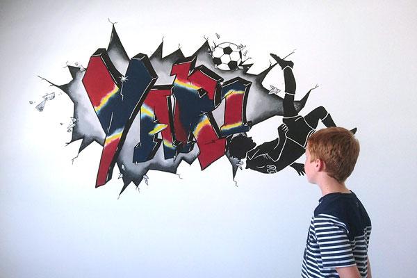 Graffiti muurschildering voor voetballer