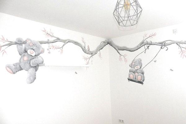 Muurschildering beertjes op een babykamer