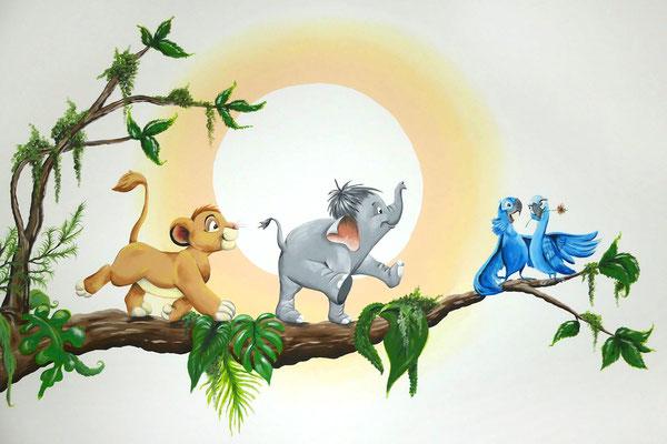 Disney muurschildering op kinderkamer