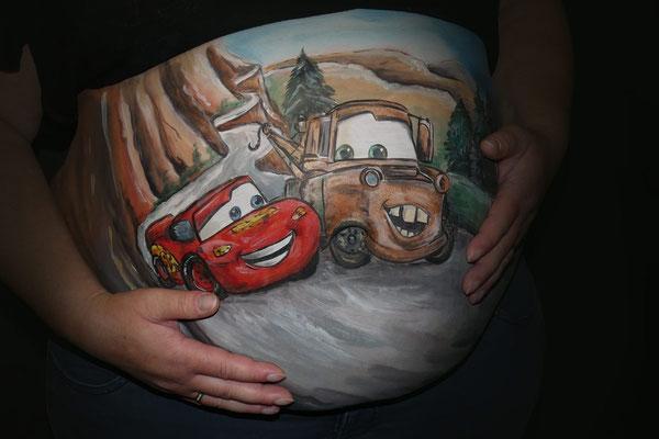 Bellypaint met Cars auto's leuk voor een jongetje