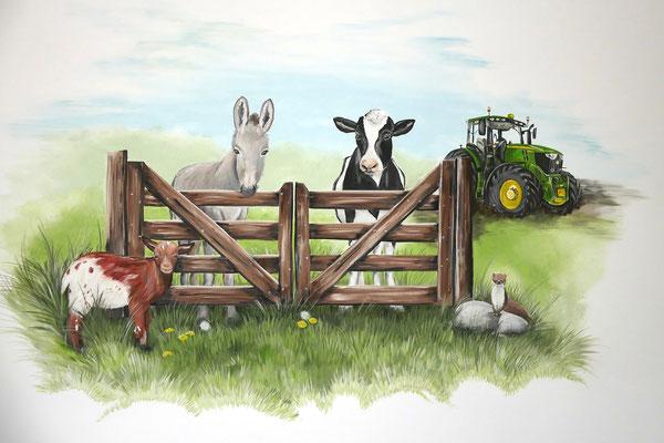 Muurschildering van de boerderij op een jongenskamer