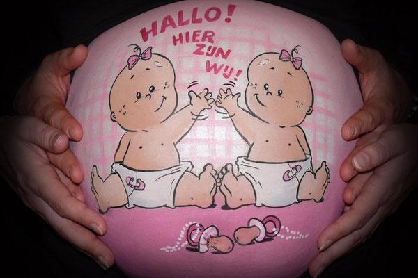 Tweeling-meisjes in een vrolijke cartoon versie