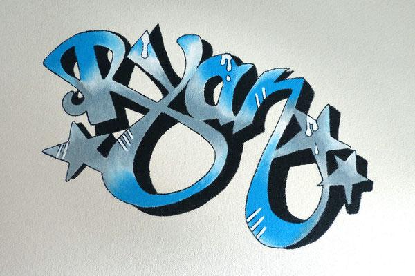 In graffiti stijl naam-muurschildering voor jongenskamer