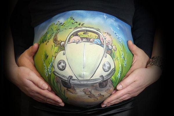 Een Volkswagen Kever in de bellypaint