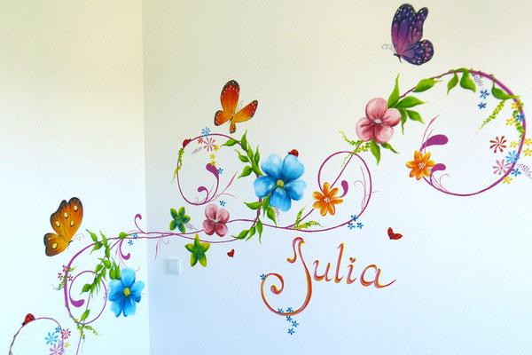 Sierlijke naam muurschildering met bloemen