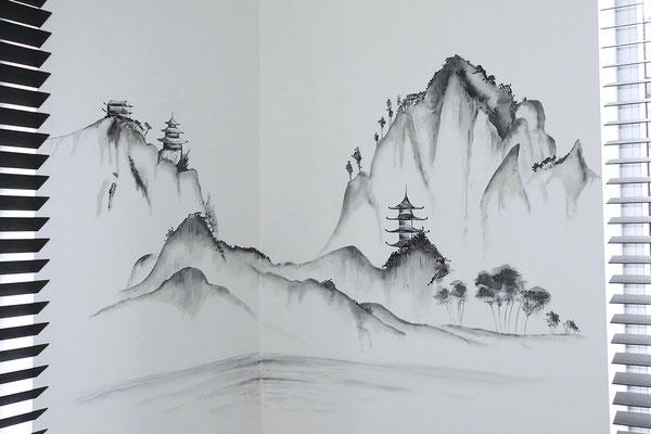 Muurschildering in thema Azië