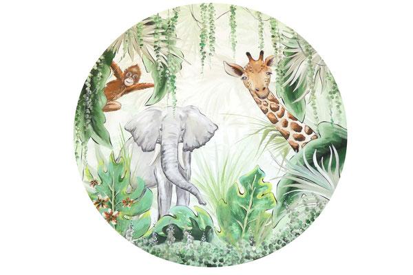 ronde jungle muurschildering boven ledikantje