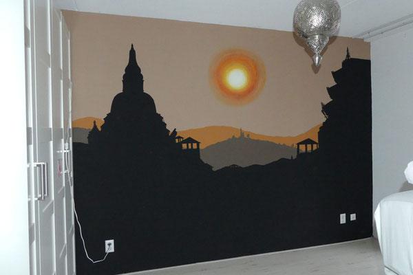 Muurschildering Nepal ouderslaapkamer