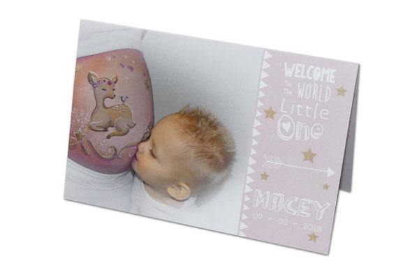 Bellypaintfoto op geboortekaartje laten drukken