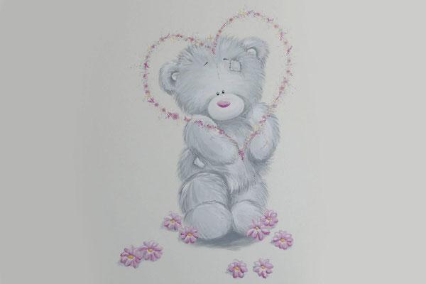 Lief beertje aks muurschildering op babykamer