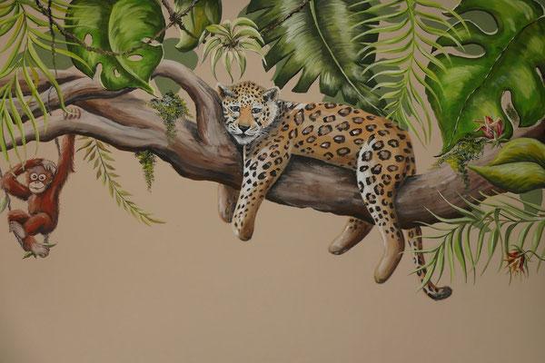 Stoere jungle muurschildering