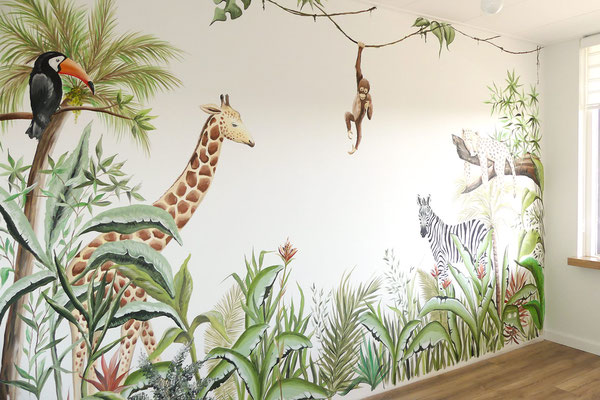 Jungle muurschildering op kinderkamer