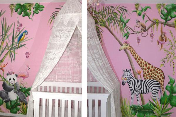 Jungle muurschildering op roze meisjeskamer
