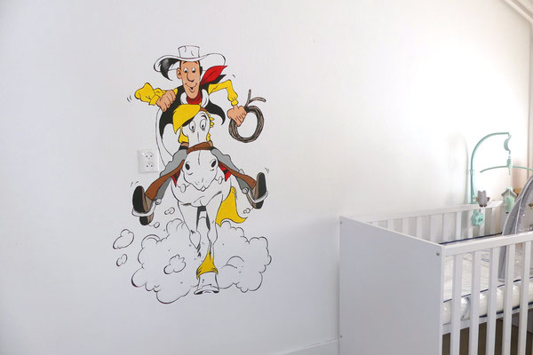 Lucky Luke muurschildering op jongenskamer