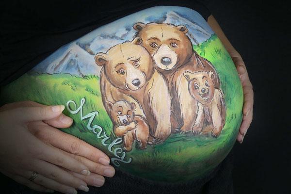 Cartoon beren in deze bellypaint