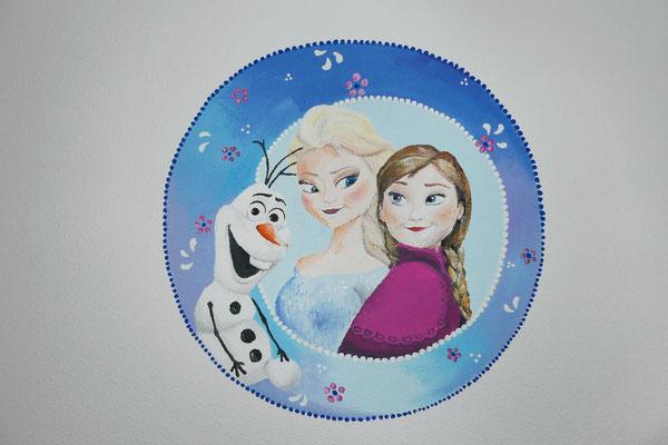 Elsa als muurschildering voor op meisjeskamer
