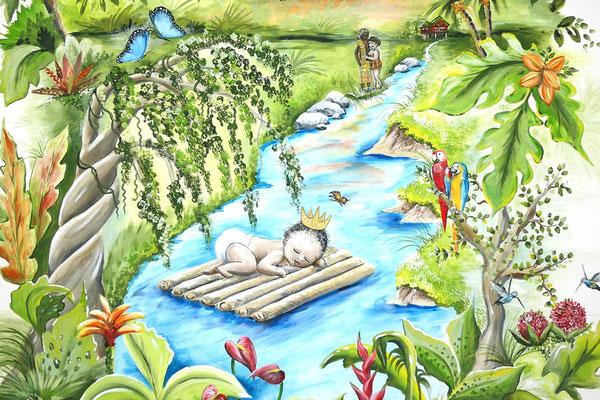 Muurschildering met Surinaams tintje