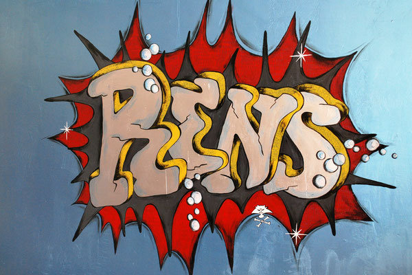 Naam in graffiti stijl als muurschildering