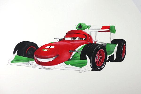 Een muurschildering van een Cars auto voor op een stoere jongenskamer
