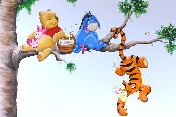 Muurschildering van Winnie the Pooh en vriendjes