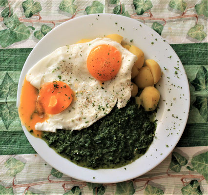 28.02.2020 Spinat mit Kartoffeln und Spiegelei