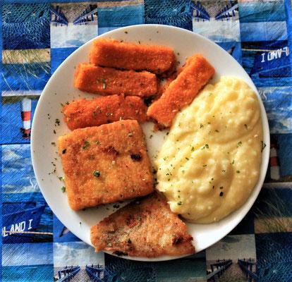 29.04.2020 Fischteller: Seelachs - Schollenfilet und Fischstäbchen