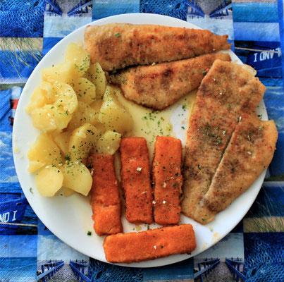 06.06.2020 Schollenfilet und Fischstäbchen mit Kartoffeln und Buttersoße
