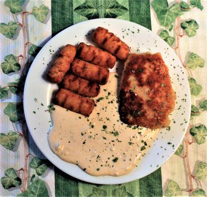 25.01.2020 Cordon Bleu mit Kroketten und Käsesoße