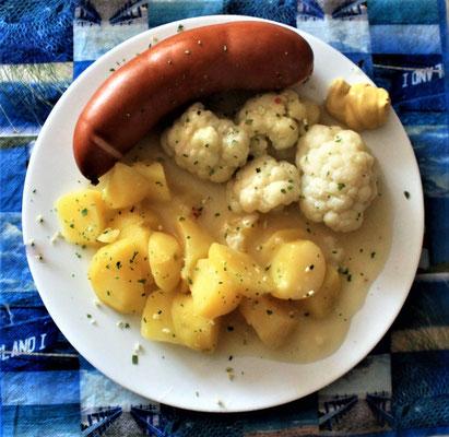 14.07.2020 gekochte mit kartoffeln blumenkohl heller soße und senf